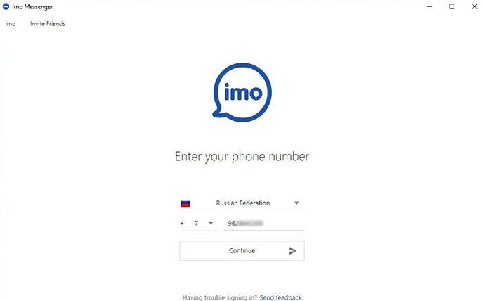 регистрация imo messenger