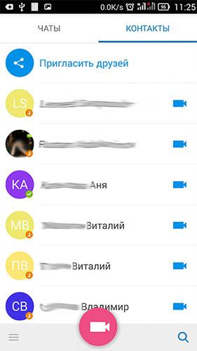 список контактов доступных по видеозвонку