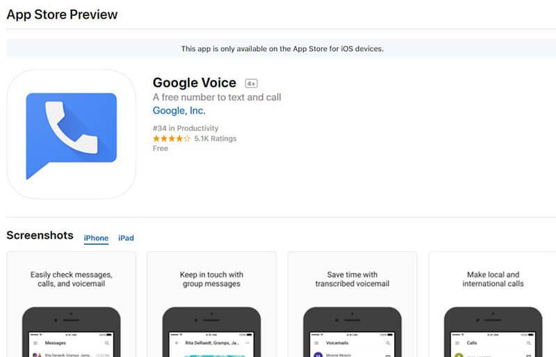 Google Voice в App Store